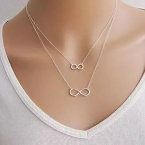 Jewelry - Double Infinity Multilayer Silver Necklace